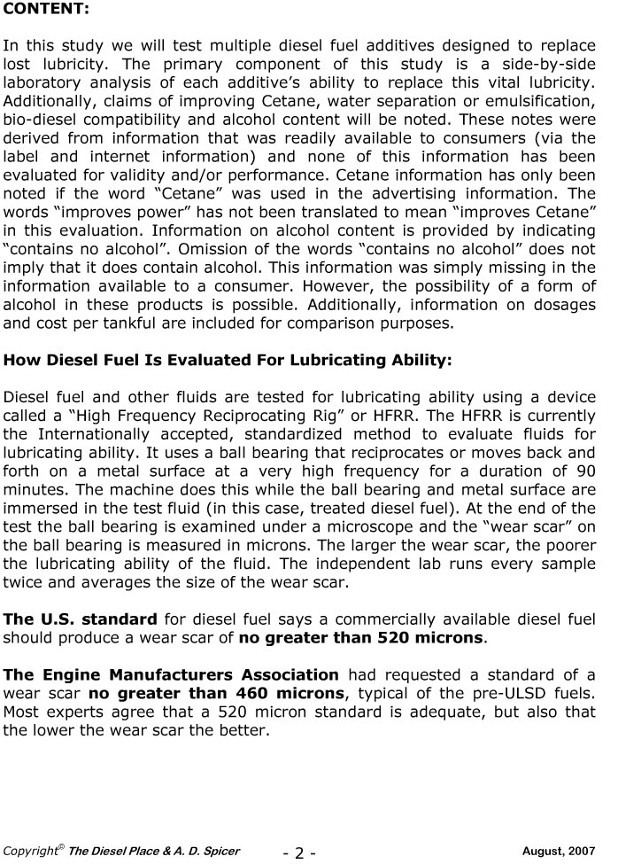 Research Study On Diesel Fuel Lubricity Additives | The ...